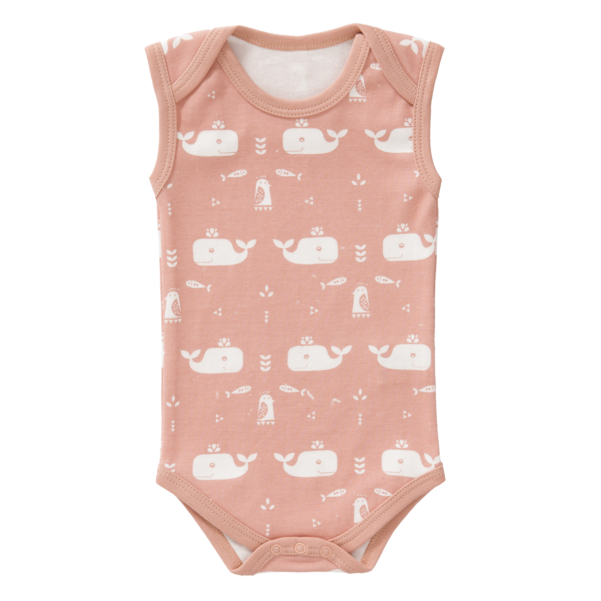 Fresk Orgnanic- Bodysuit without Sleeves Whale Mellow Rose Size: 3‐6 m and 6-12m